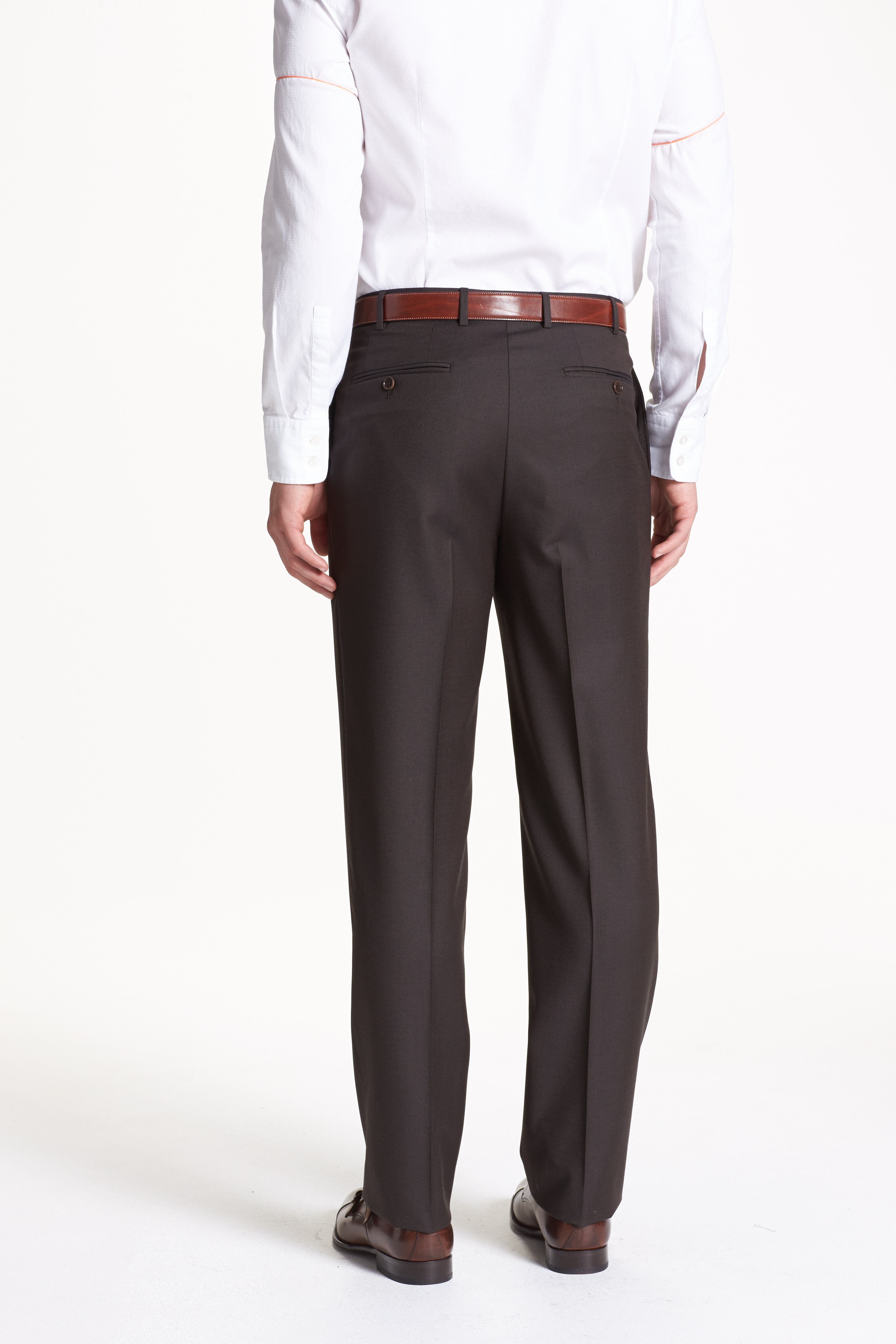 ,                             Flat Front Solid Wool Trousers,                             Alternate thumbnail 2, color,                             DARK BROWN
