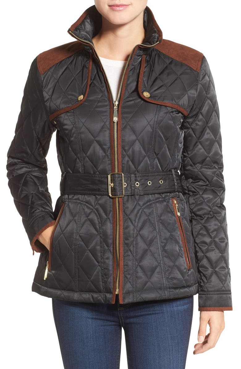 VINCE CAMUTO Diamond Quilted Jacket with Faux Suede Trim, Main, color, Black