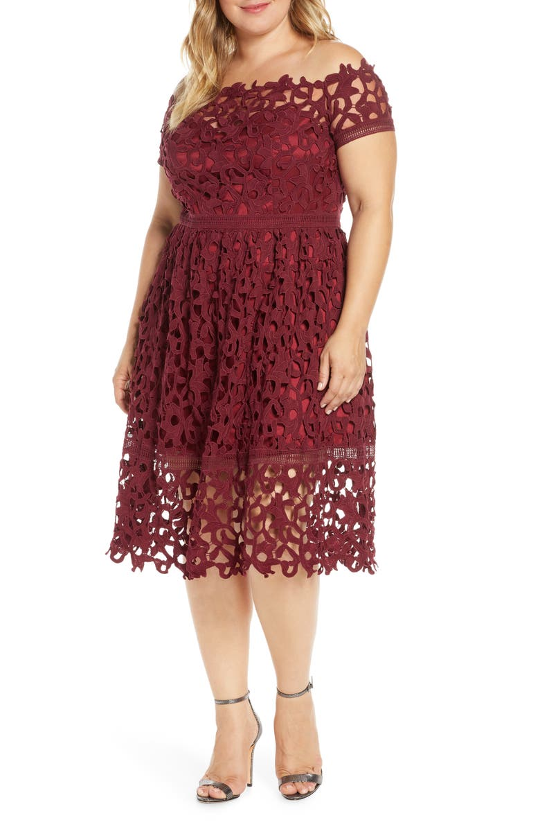 CHI CHI LONDON Curve Lizana Off the Shoulder Lace Cocktail Dress, Main, color, BURGUNDY