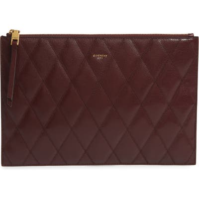 Givenchy Quilted Leather Pouch - Burgundy