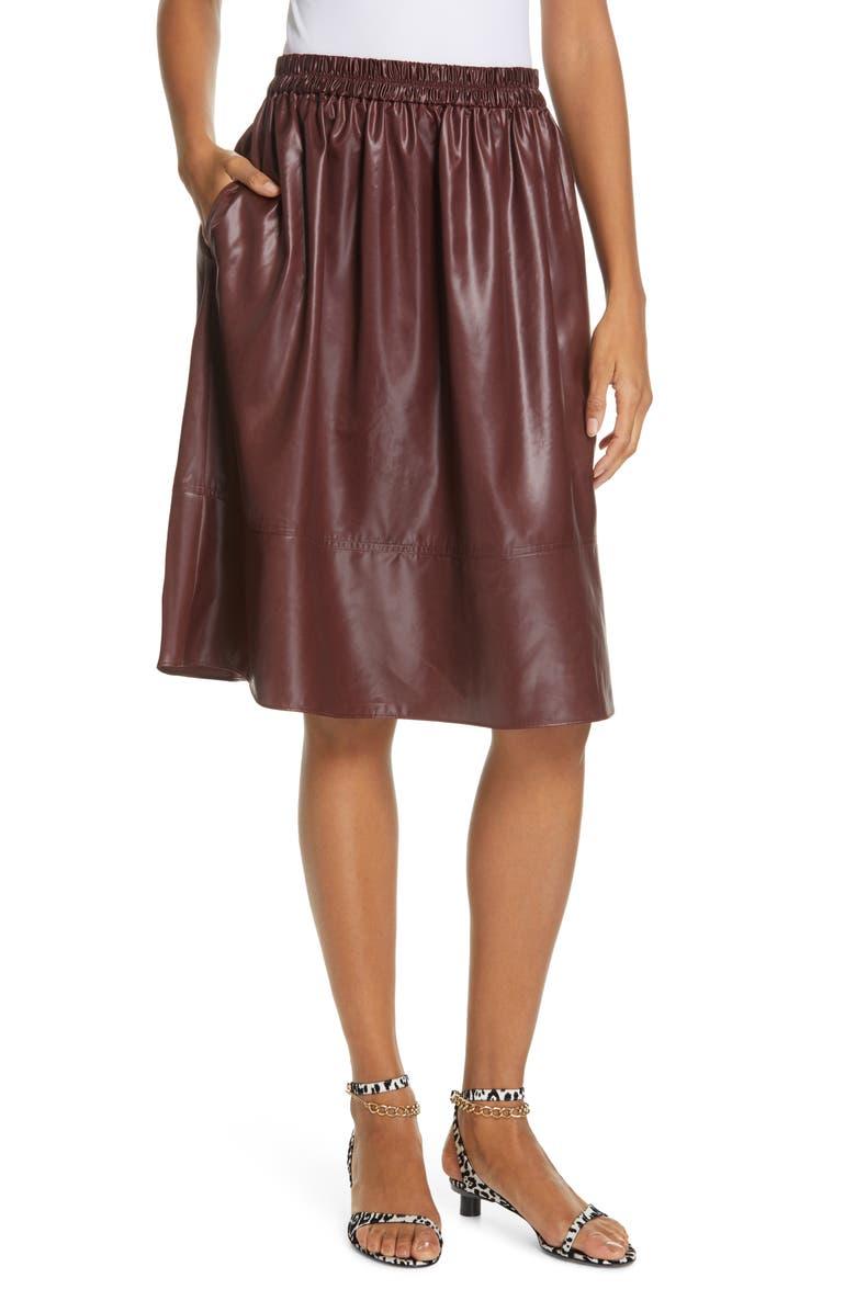 TIBI Liquid Drape Skirt, Main, color, BURGUNDY