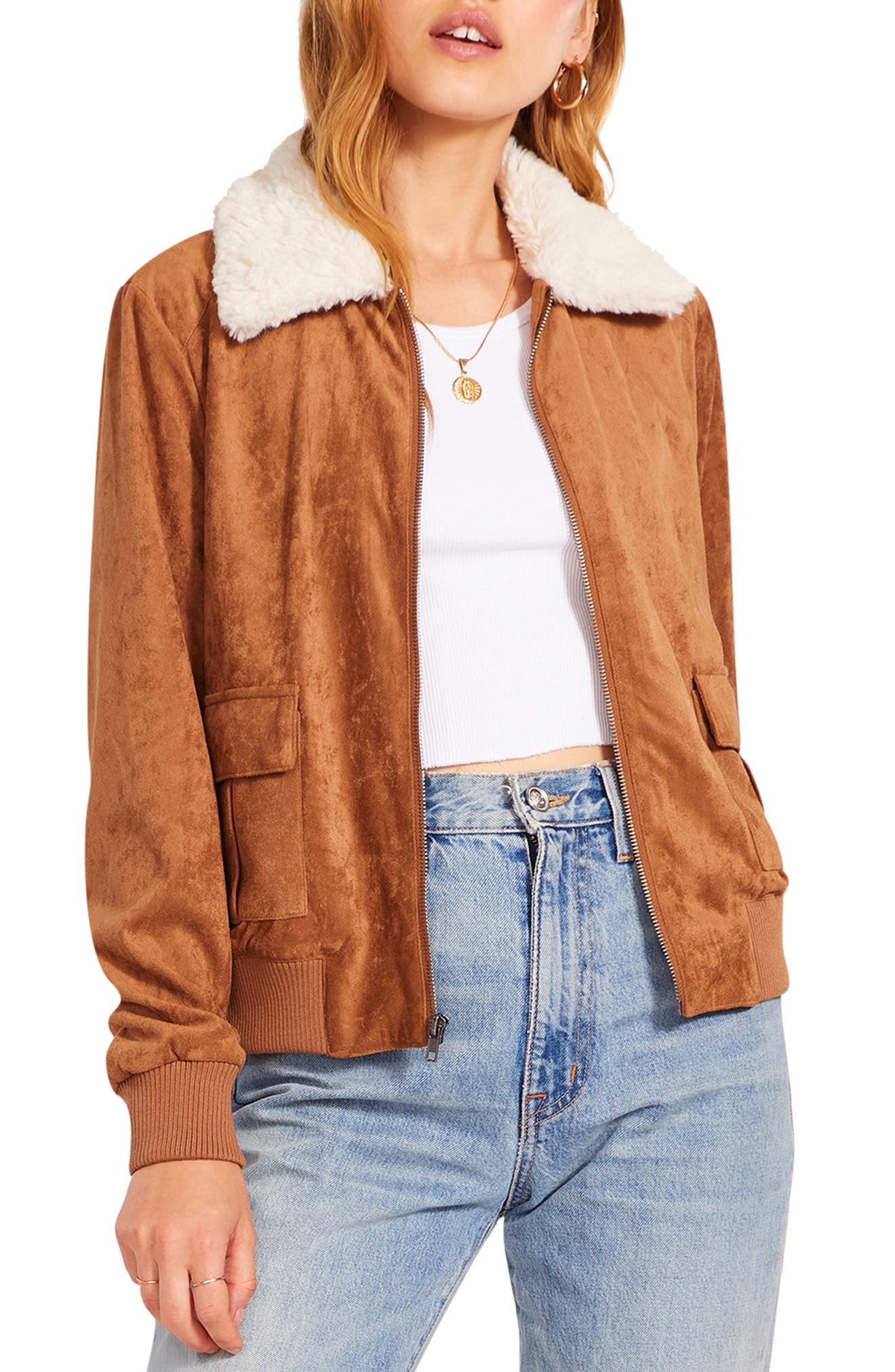 Faux Suede Bomber Jacket With Faux Shearling Collar