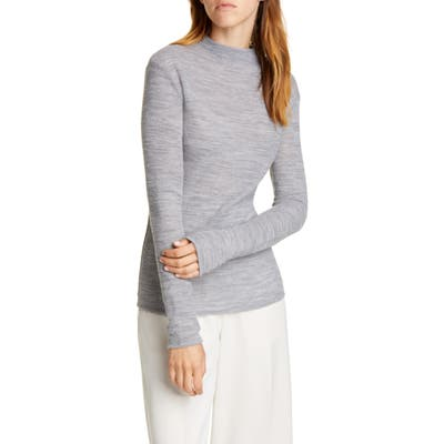 Vince Funnel Neck Fitted Wool Blend Sweater, Grey