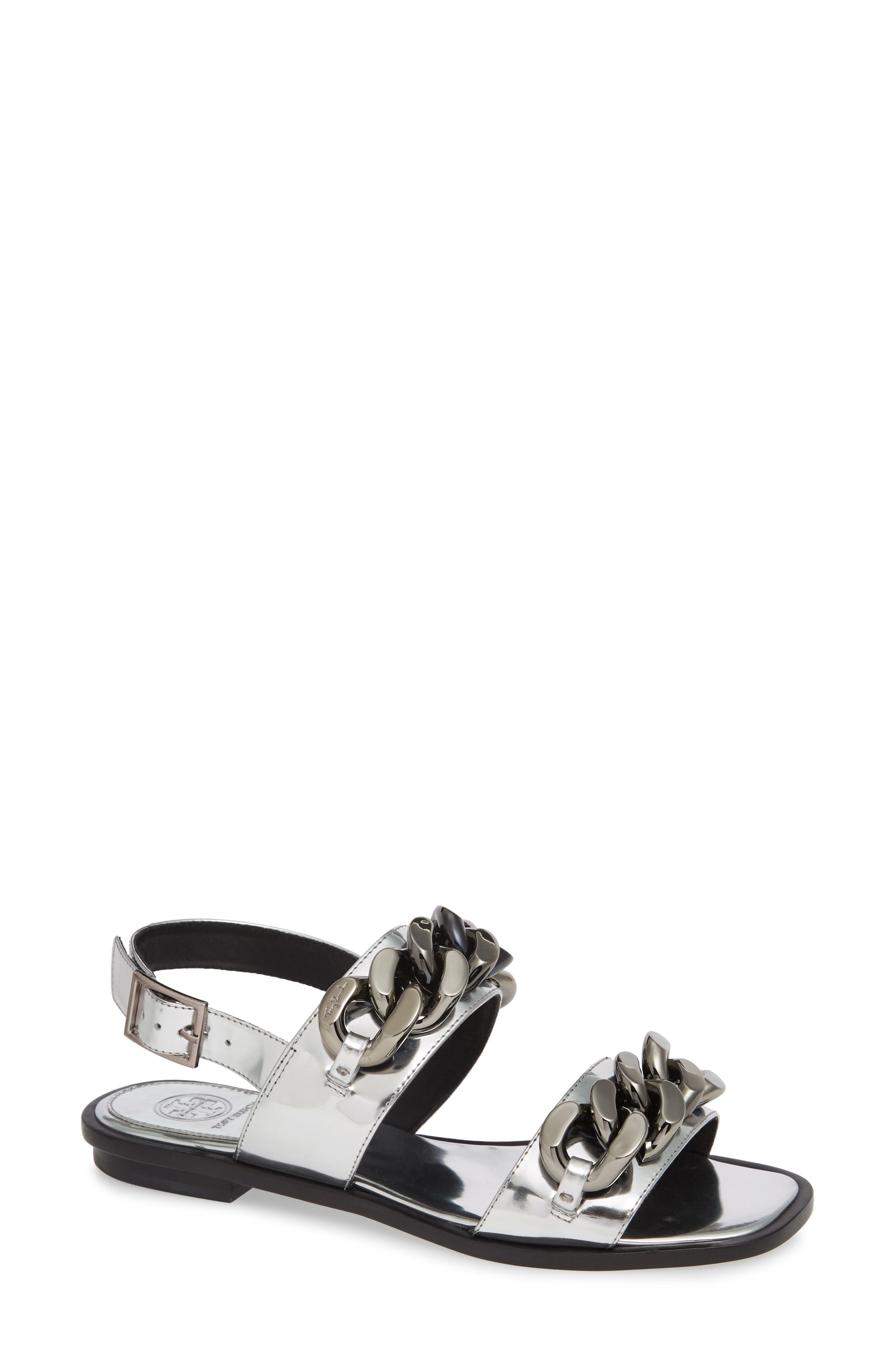 Tory Burch Adrien Chain Sandal, Metallic