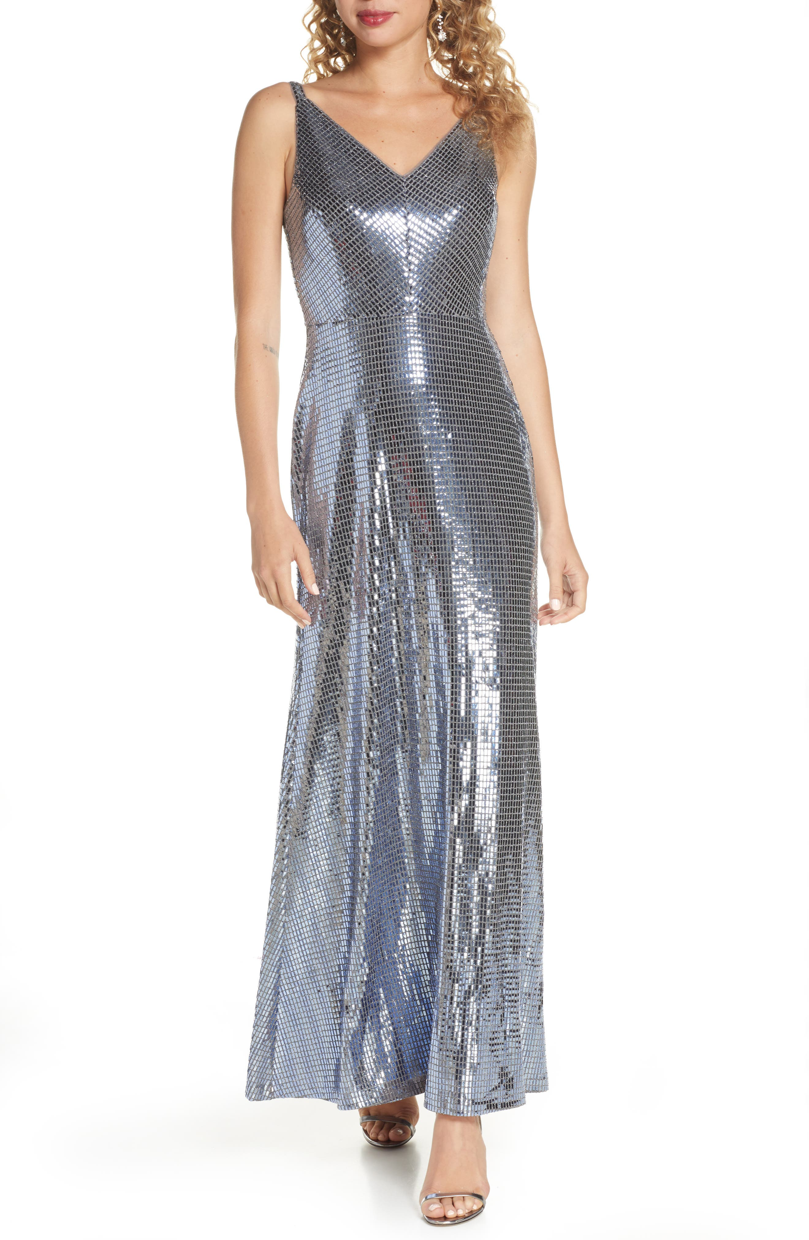 1930s Evening Dresses | Old Hollywood Dress Womens Morgan  Co. Mirror Sequin A-Line Gown Size 9 - Blue $139.00 AT vintagedancer.com