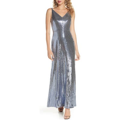 Morgan & Co. Mirror Sequin A-Line Gown, Blue