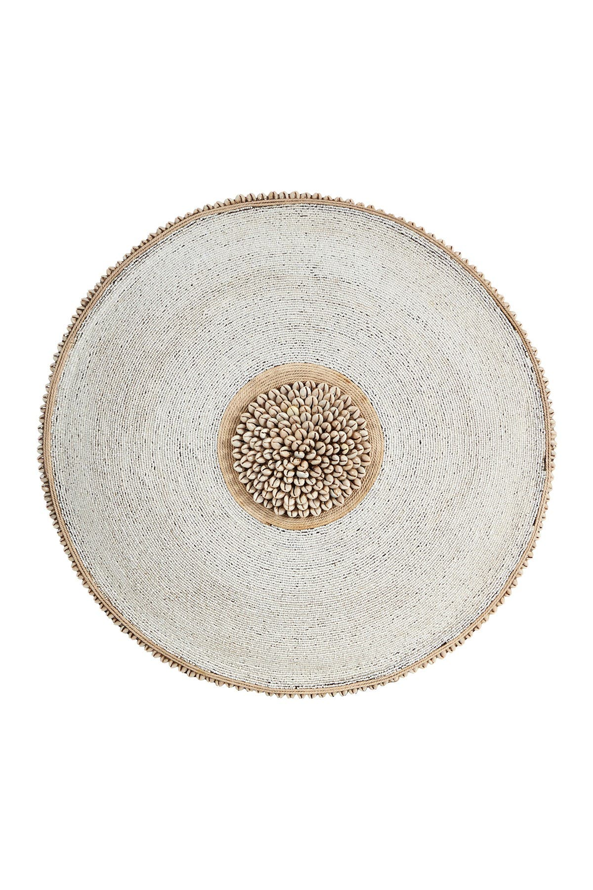 Image of Willow Row Large Round Hand-Carved Baobab Wood - Cowrie Shell & White Beaded Shield