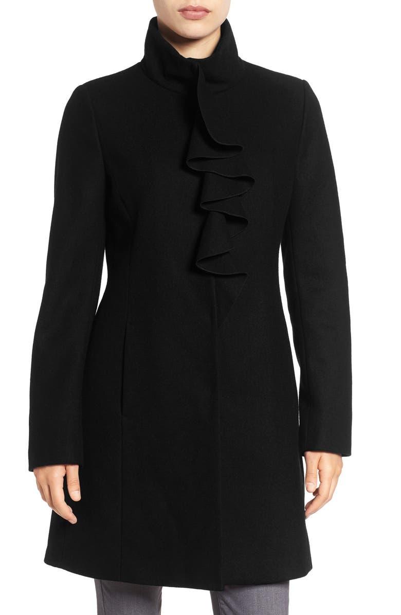TAHARI Kate Ruffle Wool Blend Coat, Main, color, 001