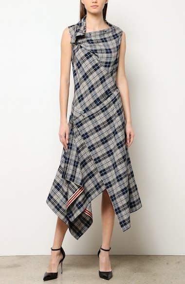 Plaid Asymmetrical Midi Dress, video thumbnail