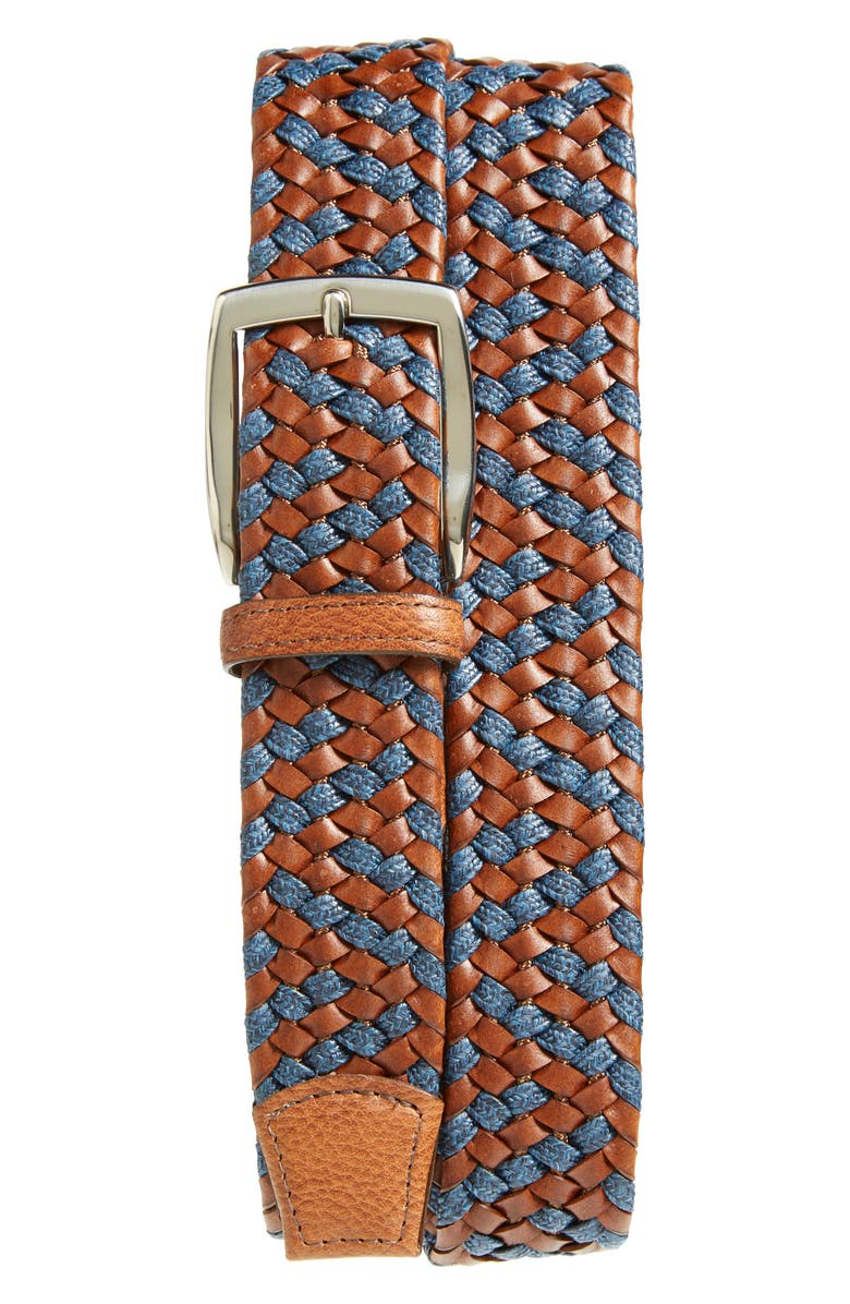 TORINO Braided Leather & Linen Belt, Main, color, COGNAC/ NAVY