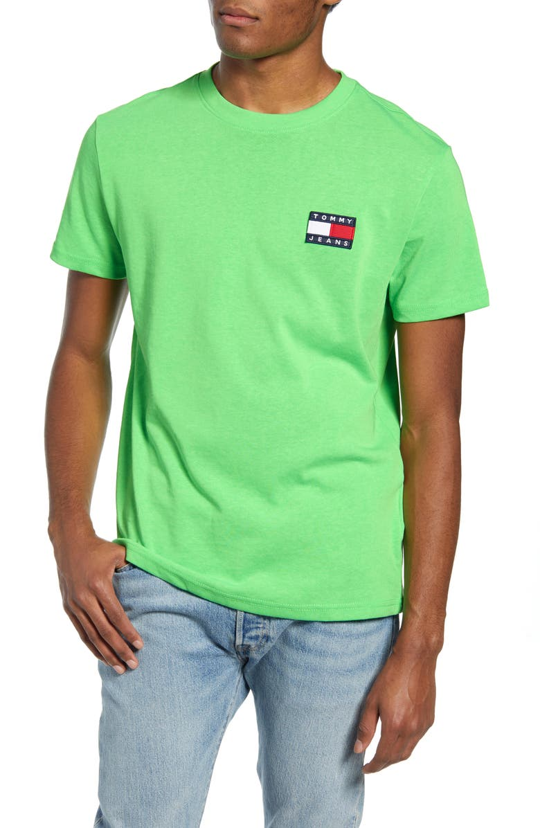 TOMMY JEANS TJM Tommy Badge T-Shirt, Main, color, GREEN GECKO
