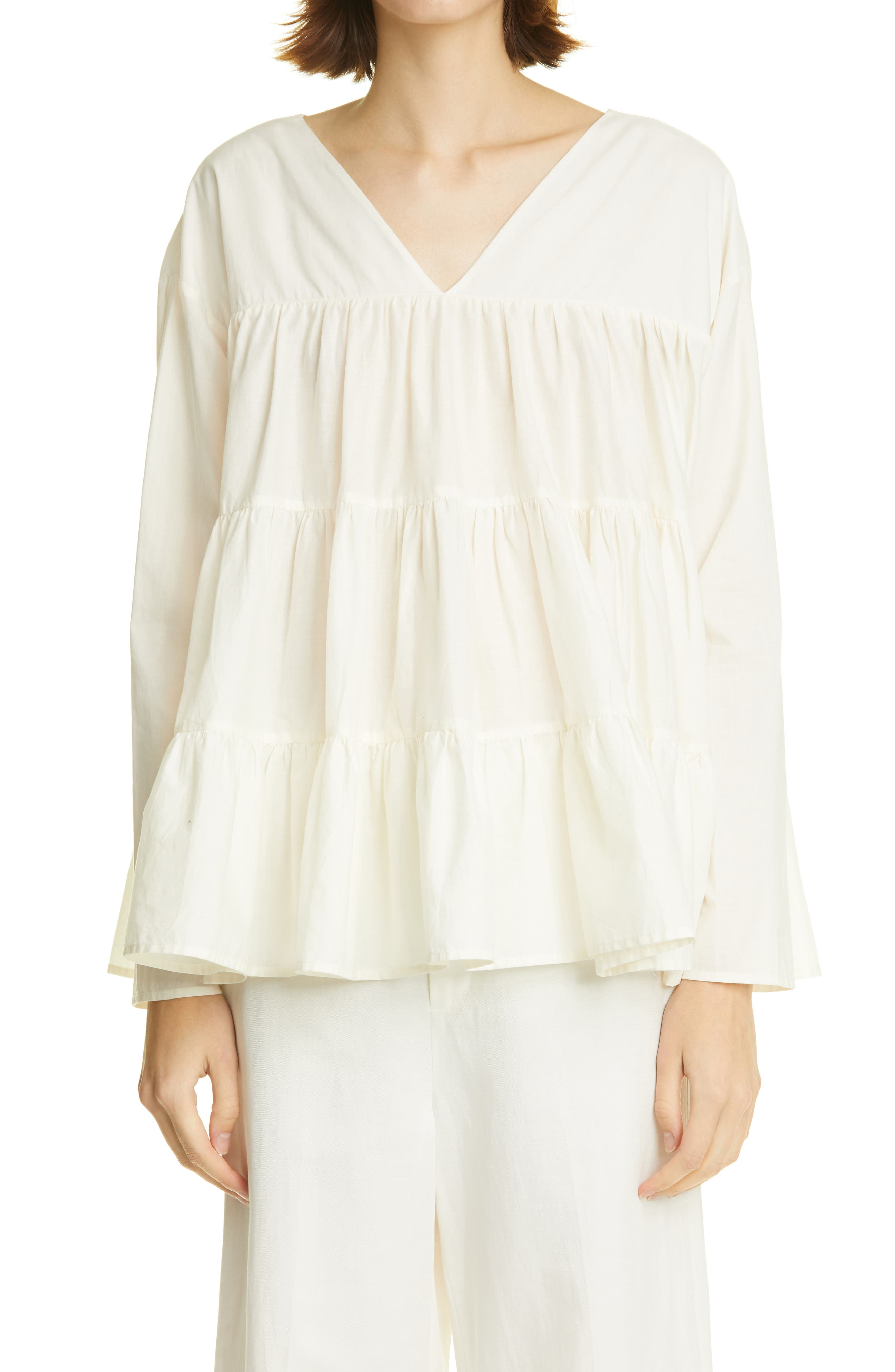 Sidonia Tiered V-Neck Cotton Blouse