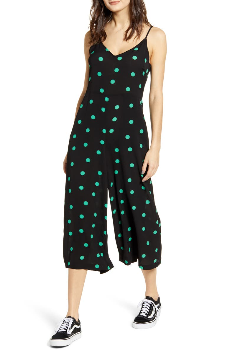 BP. Polka Dot Spaghetti Strap Jumpsuit, Main, color, BLACK ESSENTIAL DOT