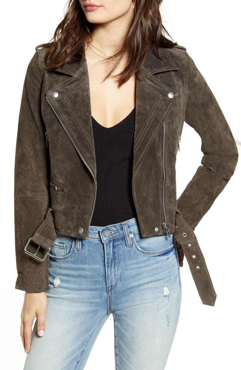 BLANKNYC Suede Moto Jacket, Main, color, SHADOW GREY