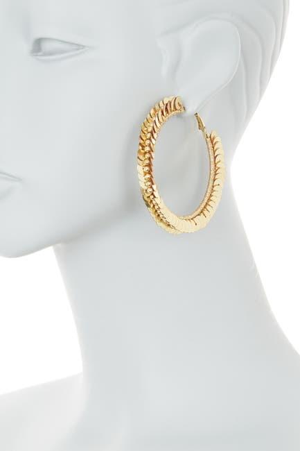Image of AREA STARS 64mm Two-Tone Sequins Hoop Earrings