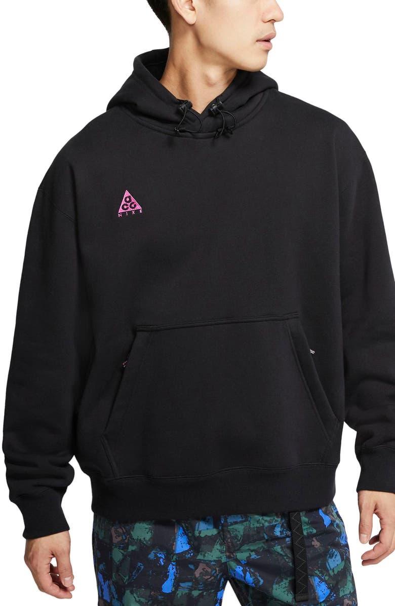NIKE ACG Men's Pullover Hoodie, Main, color, BLACK/ BLACK/ ACTIVE FUCHSIA