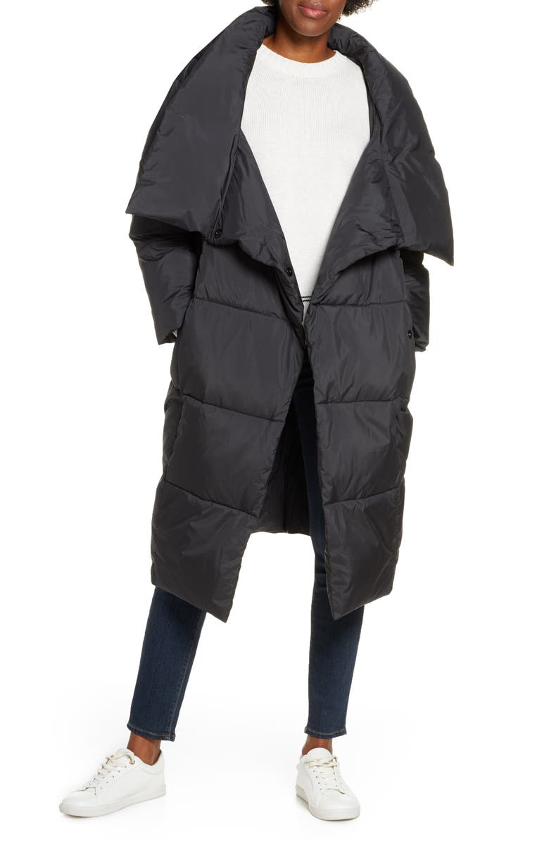 UGG<SUP>®</SUP> Catherina Water Resistant Hooded Puffer Coat, Main, color, BLACK