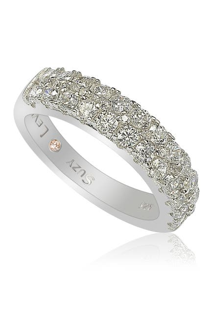 Image of Suzy Levian Sterling Silver 3-Row Pave CZ Band Ring