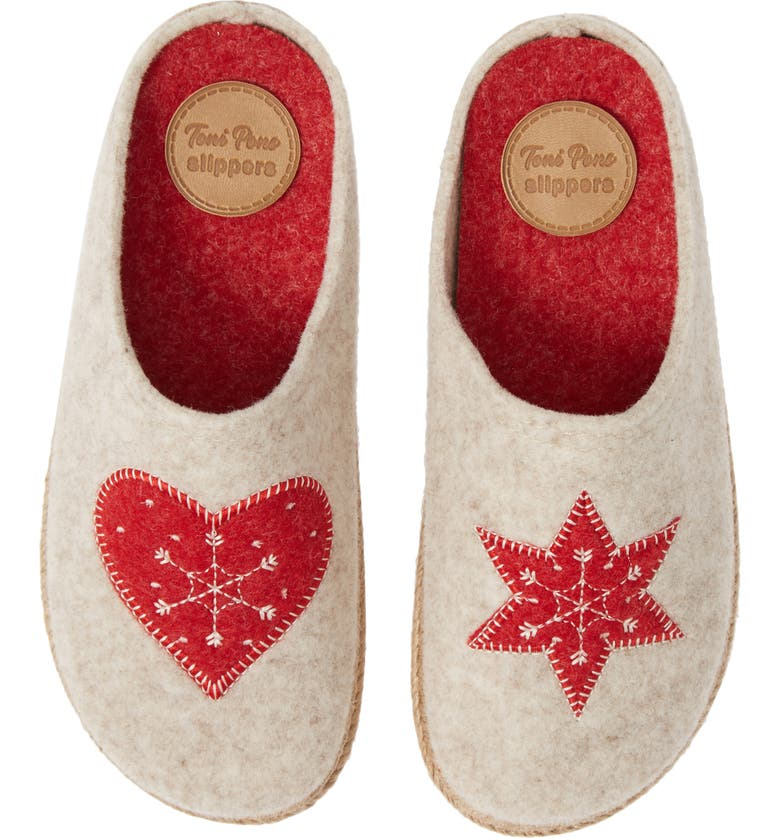 TONI PONS Miri Lined Scuff Slipper, Main, color, ECRU/RED WOOL