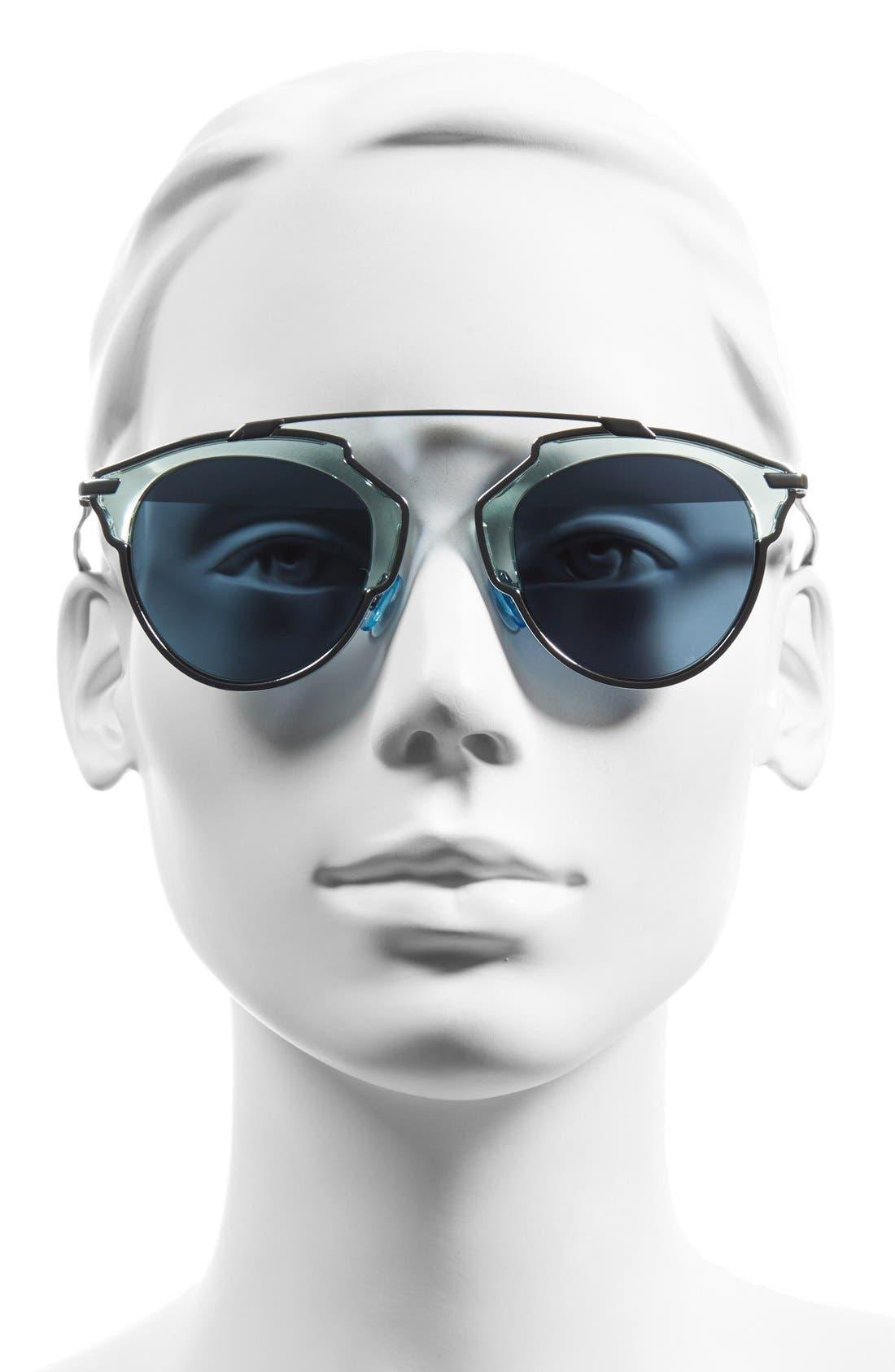 ,                             So Real 48mm Brow Bar Sunglasses,                             Alternate thumbnail 46, color,                             400