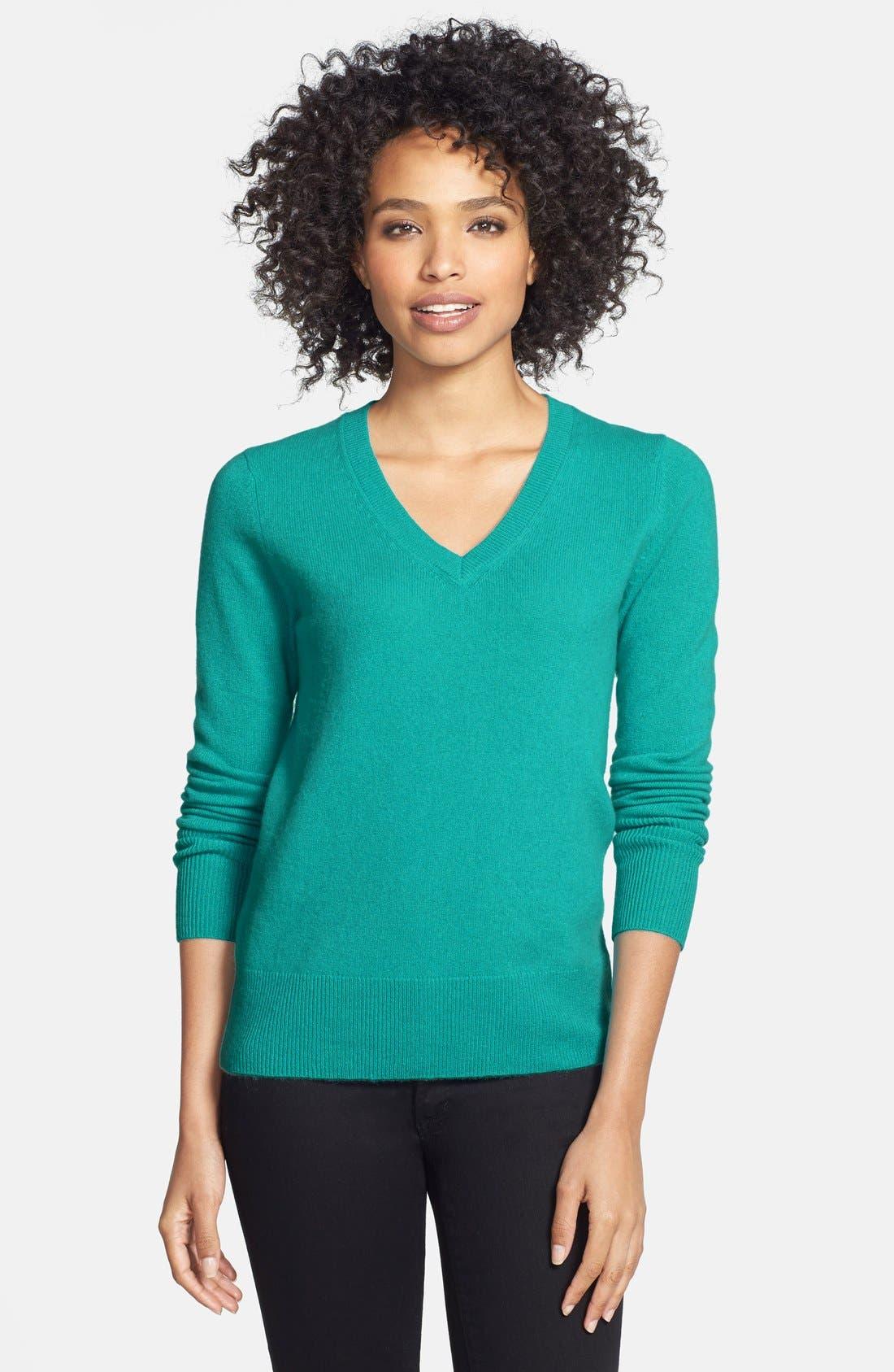 ,                             Cashmere V-Neck Sweater,                             Main thumbnail 44, color,                             440
