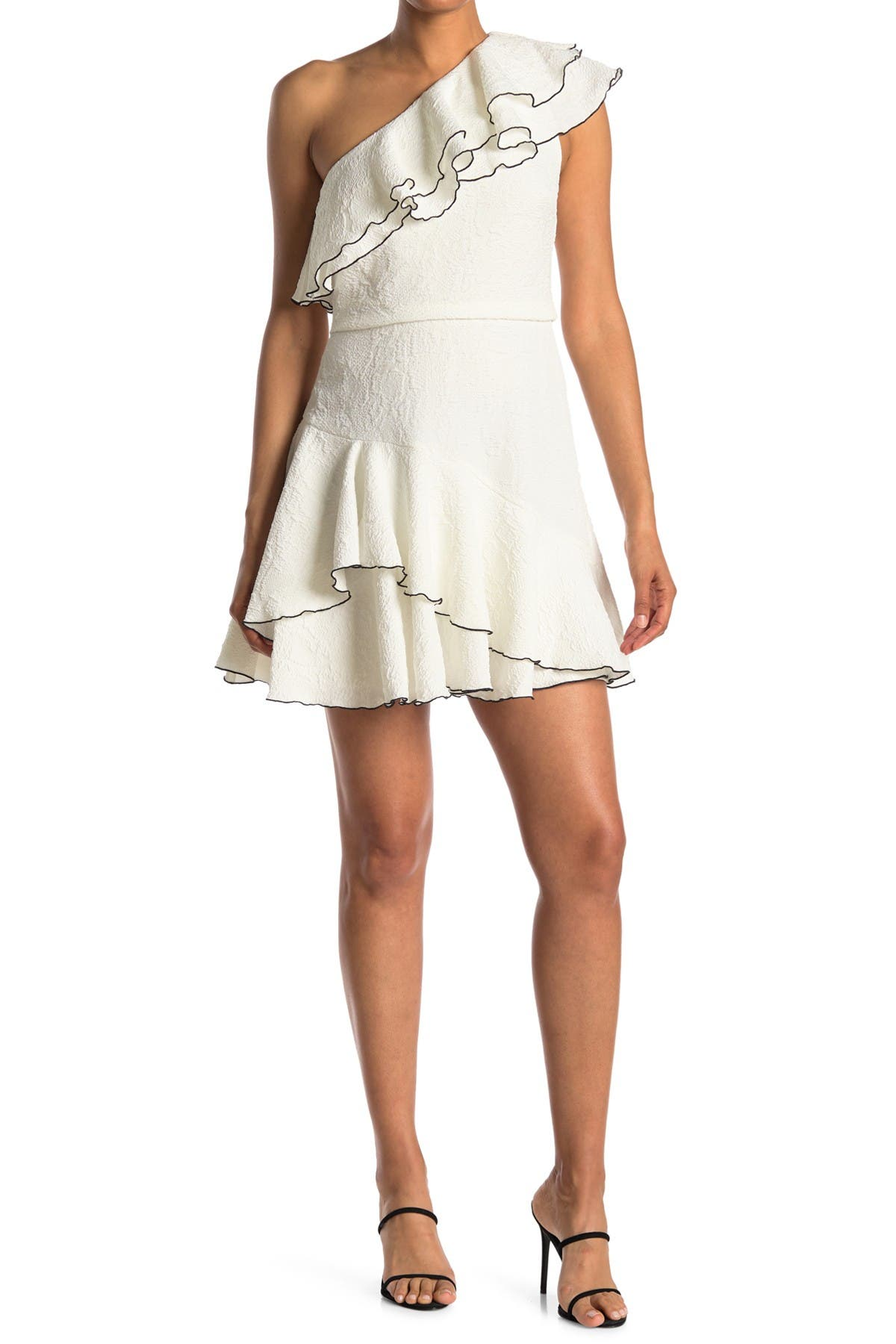 Image of HALSTON One Shoulder Ruffle Detail Dress
