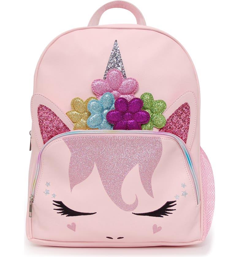 OMG Flower Crown Unicorn Backpack, Main, color, PINK