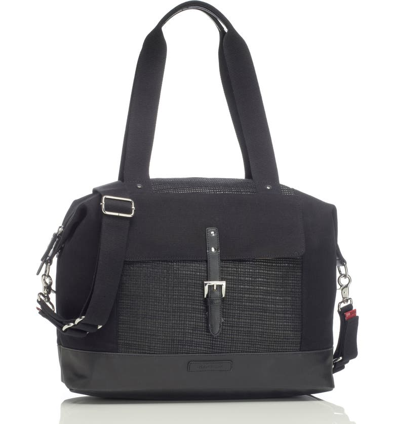 STORKSAK Jude Convertible Diaper Bag, Main, color, BLACK