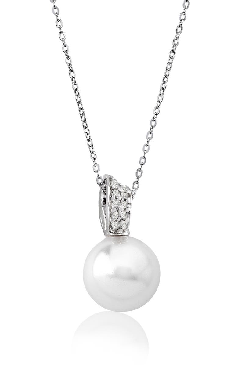 MAJORICA 12mm Simulated Pearl Pendant Necklace, Main, color, 100