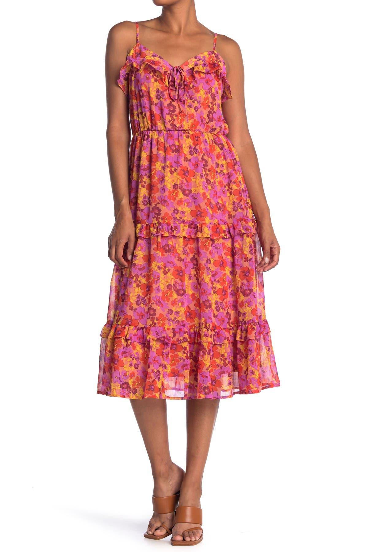 Image of Lush Floral Print Tiered Ruffle Midi Dress