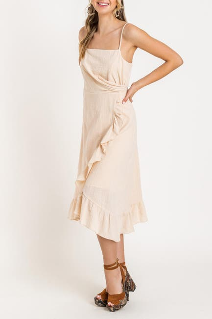 Image of Lush Asymmetrical Ruffle Midi Dress