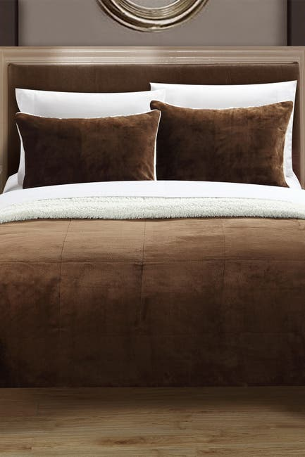 Image of Chic Home Bedding Queen Evelyn Blanket Set - Brown