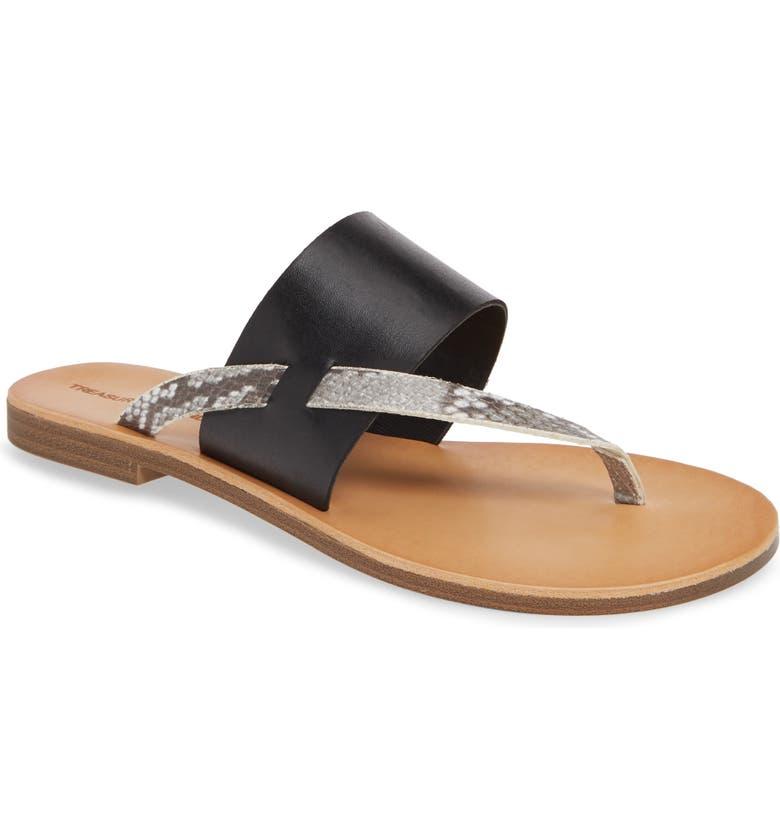 TREASURE & BOND Keren Sandal, Main, color, BLACK FAUX LEATHER