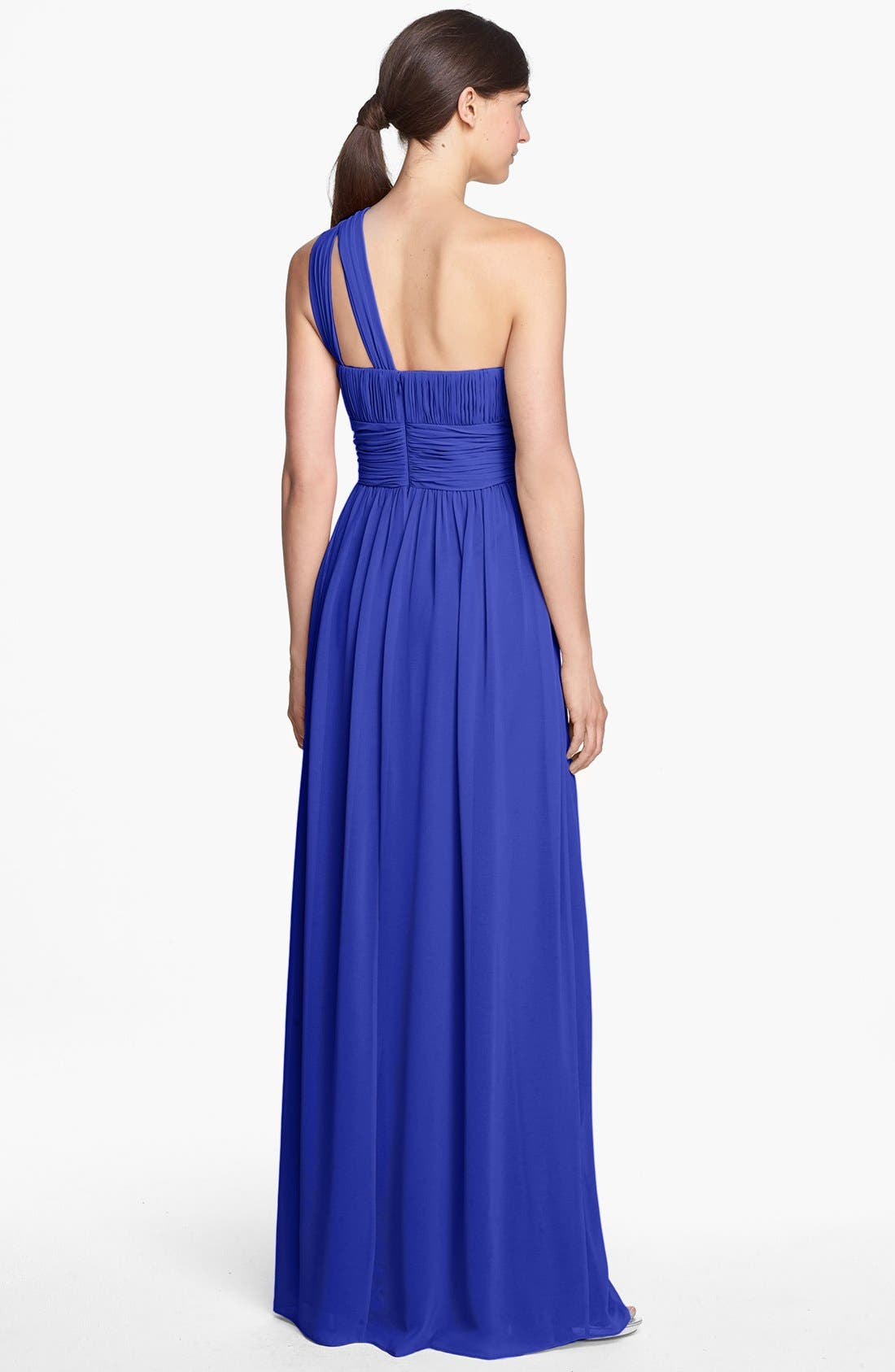 ,                             'Rachel' Ruched One-Shoulder Chiffon Gown,                             Alternate thumbnail 70, color,                             434