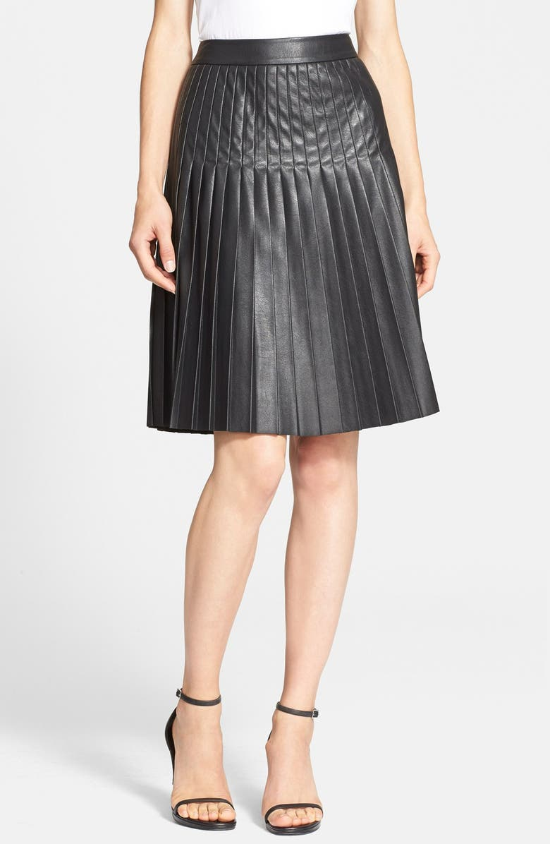 0a242329f3 Rebecca Taylor Pleated Faux Leather Skirt | Nordstrom