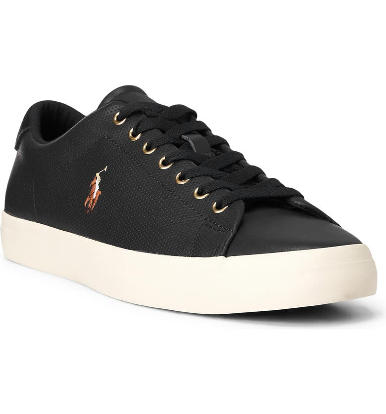 POLO RALPH LAUREN Longwood Sneaker, Main, color, BLACK LEATHER