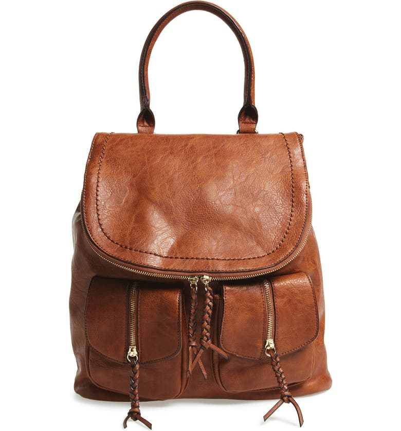 SOLE SOCIETY Emery Faux Leather Backpack, Main, color, BROWN