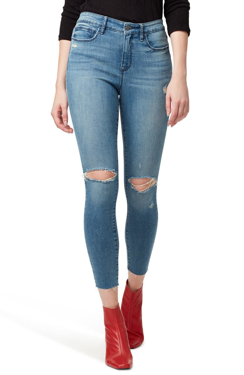 SANCTUARY Social Standard Ripped High Waist Ankle Skinny Jeans, Main, color, DURANGO
