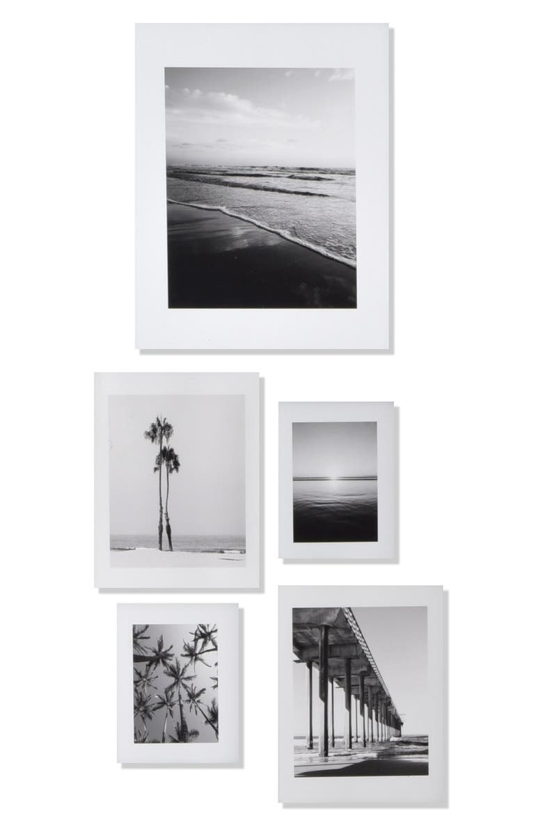 DENY DESIGNS 'Ombré Beach' Wall Art Print Set, Main, color, WHITE