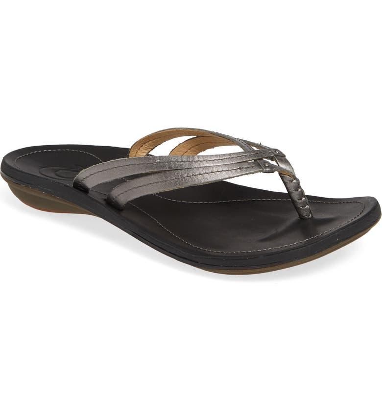 OLUKAI 'U'i' Thong Sandal, Main, color, PEWTER/ BLACK LEATHER