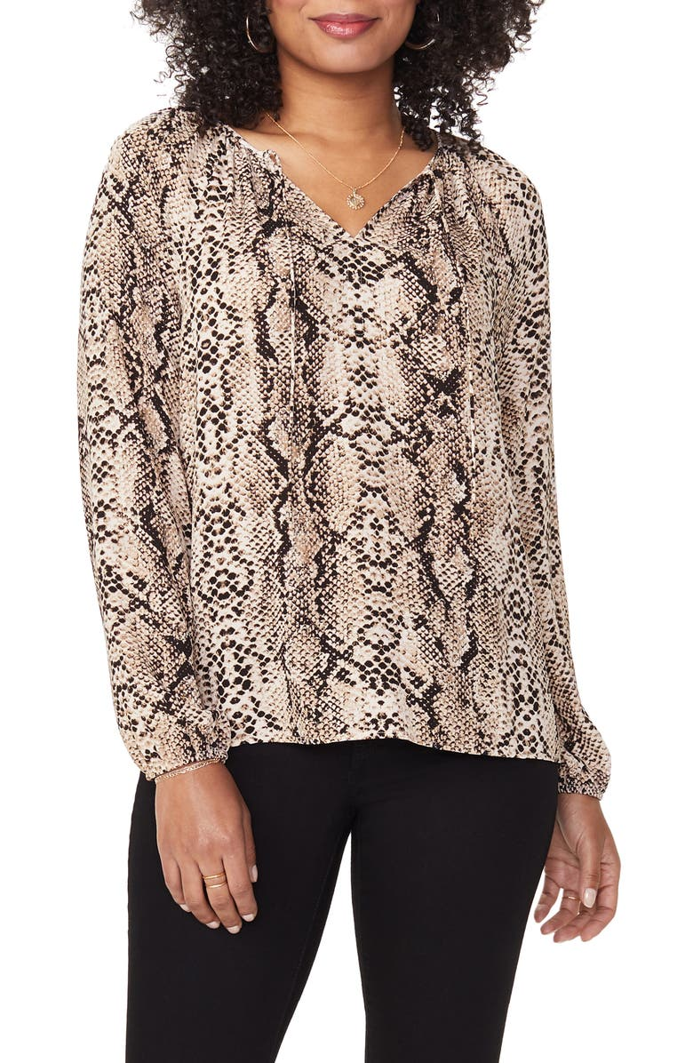 NYDJ Snake Print Peasant Blouse, Main, color, VICTORIAN PYTHON TAUPE