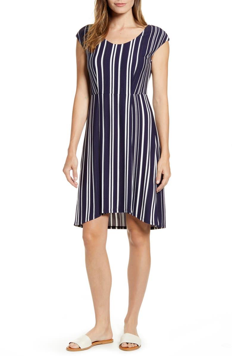 TOMMY BAHAMA Anoche Stripe A-Line Dress, Main, color, BLACK