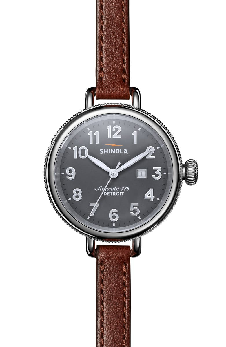 SHINOLA The Birdy Leather Strap Watch, 34mm, Main, color, 200