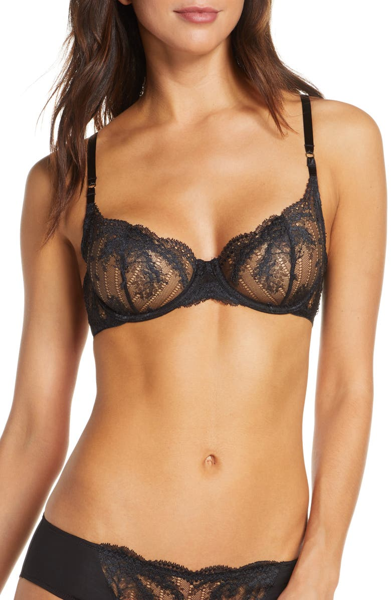 NATORI Frenzy Underwire Balconette Bra, Main, color, BLACK