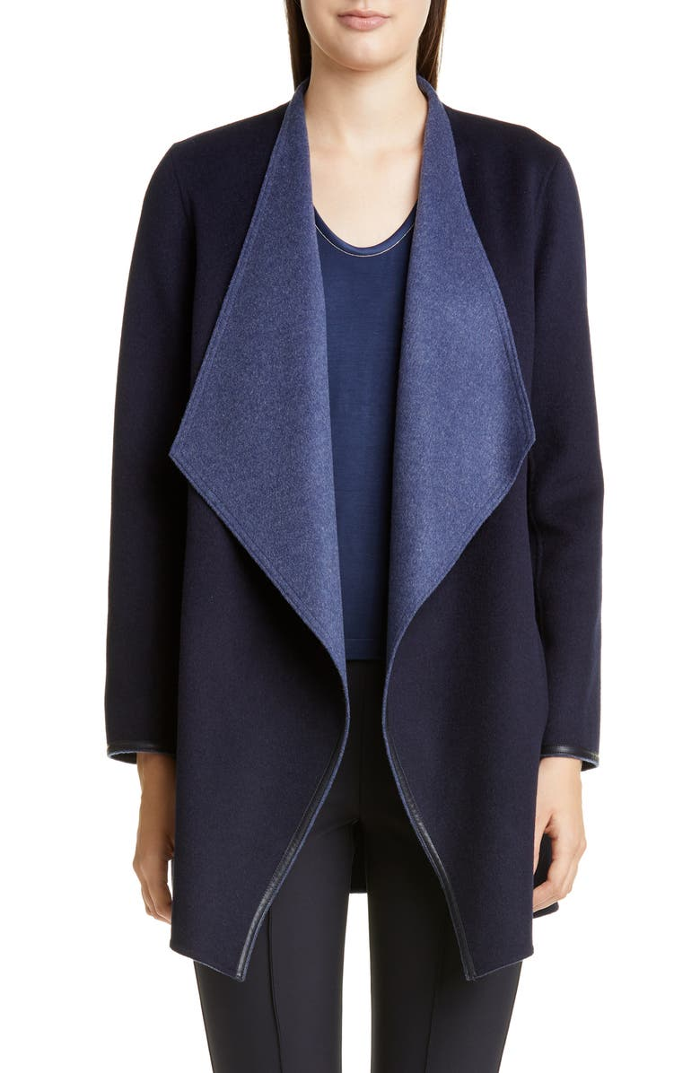 LAFAYETTE 148 NEW YORK Valasca Reversible Wool & Cashmere Jacket, Main, color, MARINE BLUE/ DENIM