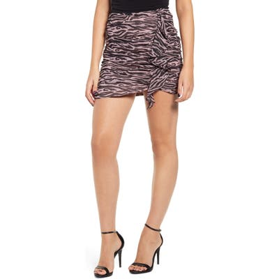 Endless Rose Zebra Print Ruched Miniskirt, Pink