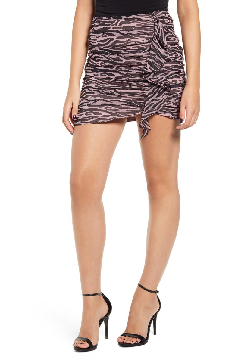 ENDLESS ROSE Zebra Print Ruched Miniskirt, Main, color, PINK
