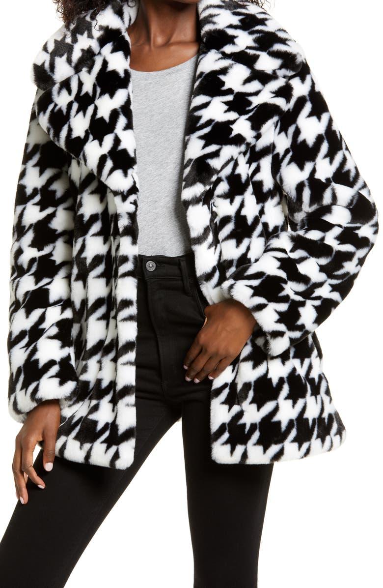 AVEC LES FILLES Houndstooth Faux Fur Coat, Main, color, BLACK/ WHITE