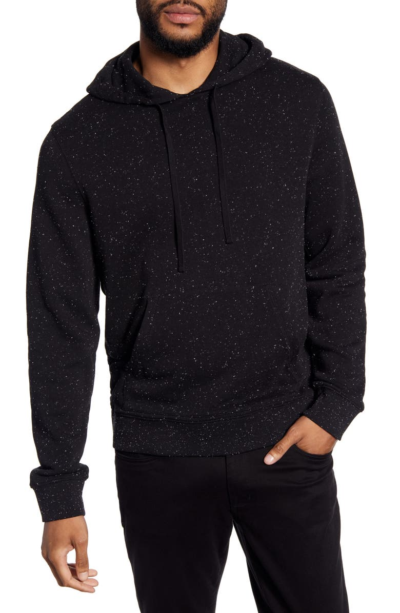 VINCE Nep Flecked Pullover Hoodie, Main, color, BLACK/ WHITE