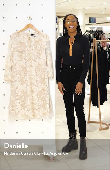 Embroidered Lace Mock Jacket Cocktail Dress, sales video thumbnail